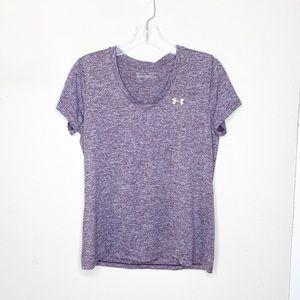 Under Armour Short Sleeve V Neck Purple Medium